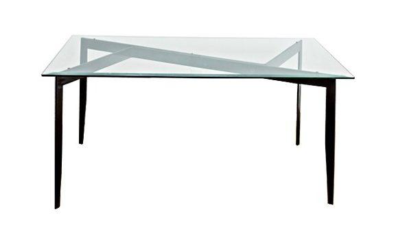 mesa de vidro com base em chapa de aço