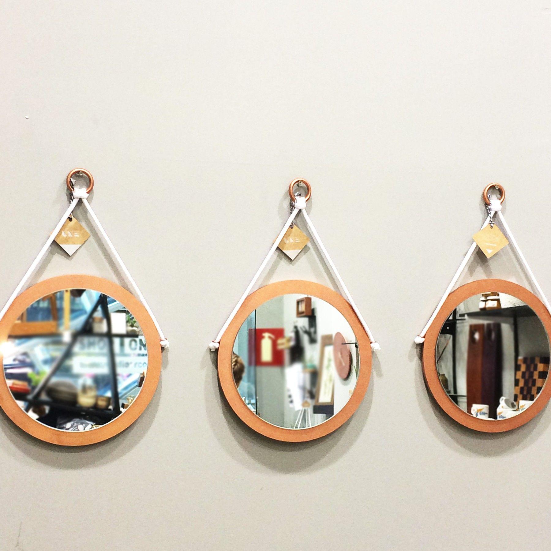 espelho redondo adnet em madeira
