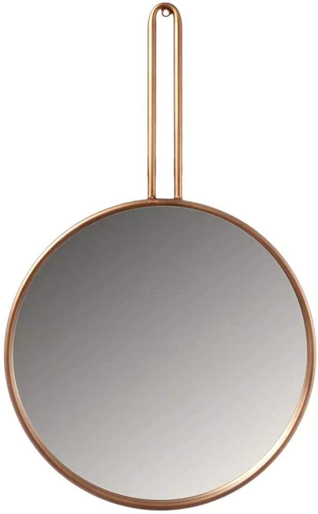 espelho redondo com moldura rose gold
