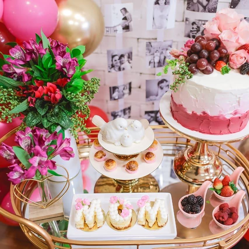 decoração mesa bolo dia das mães