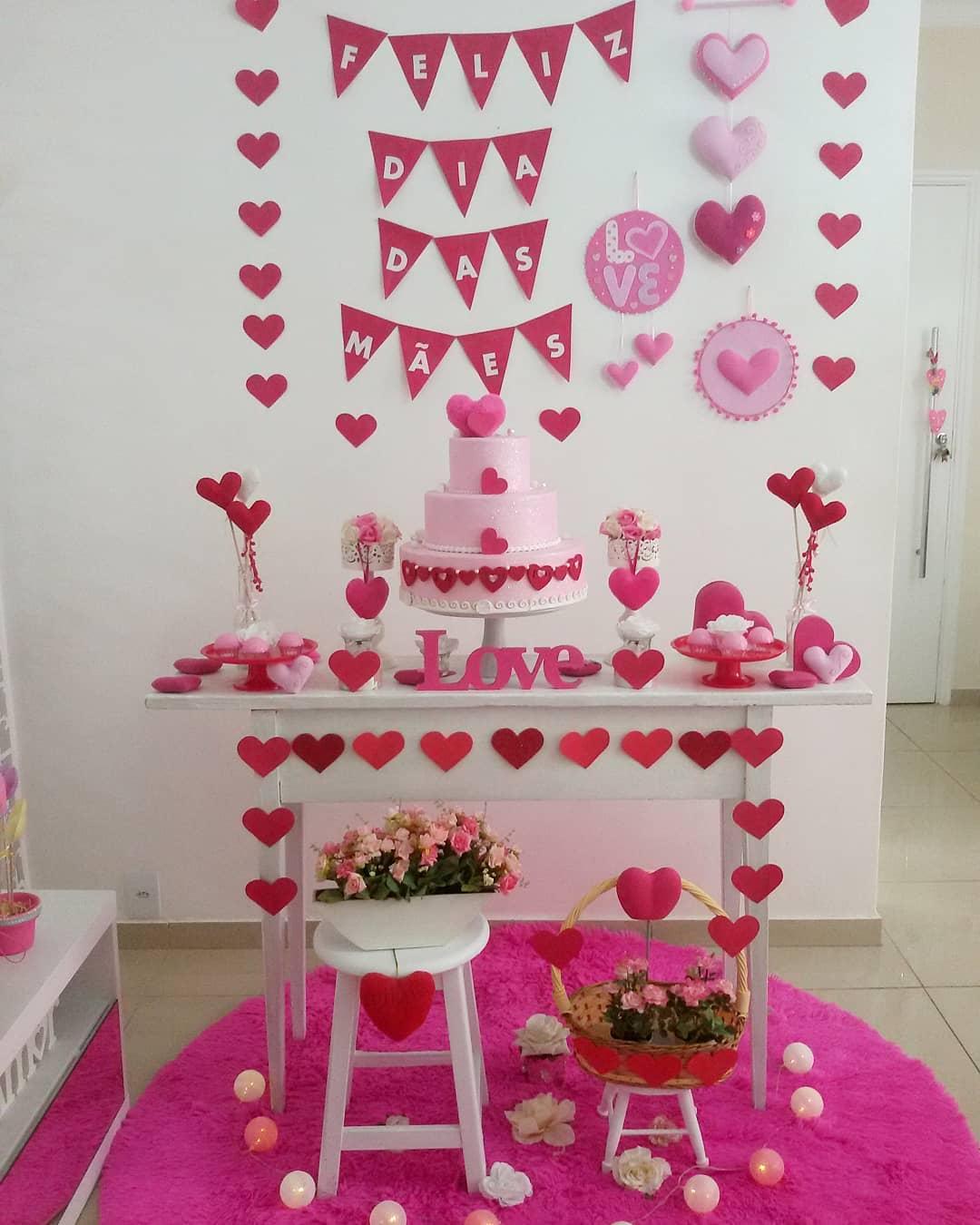 decoração dia das mães corações papel