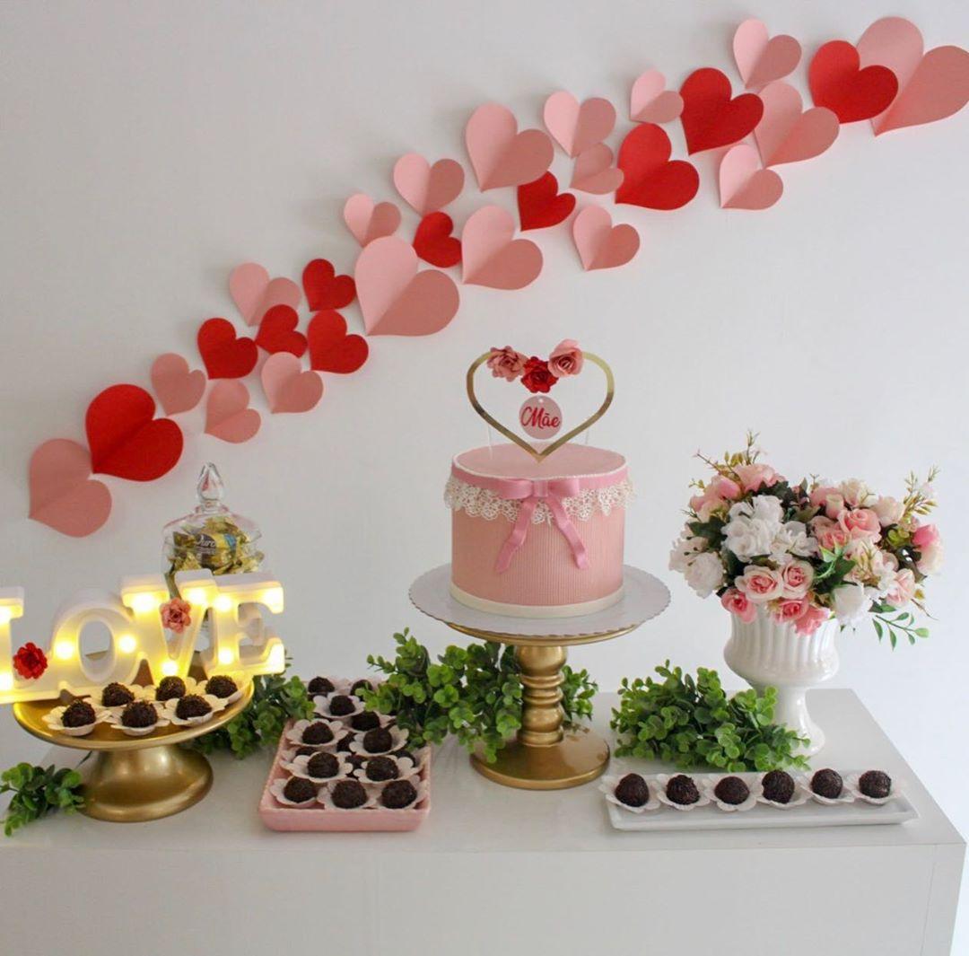 decoração dia das mães corações