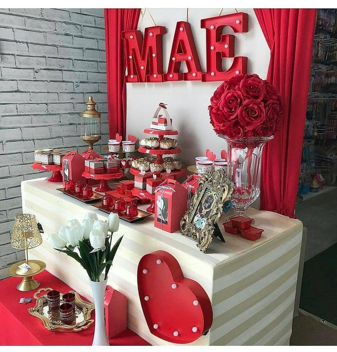decoração dia das mães em vermelho