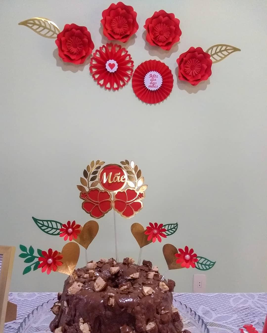 decoração dia das mães flores papel