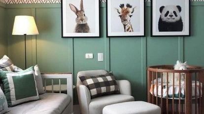 meia parede em verde em quarto de bebe
