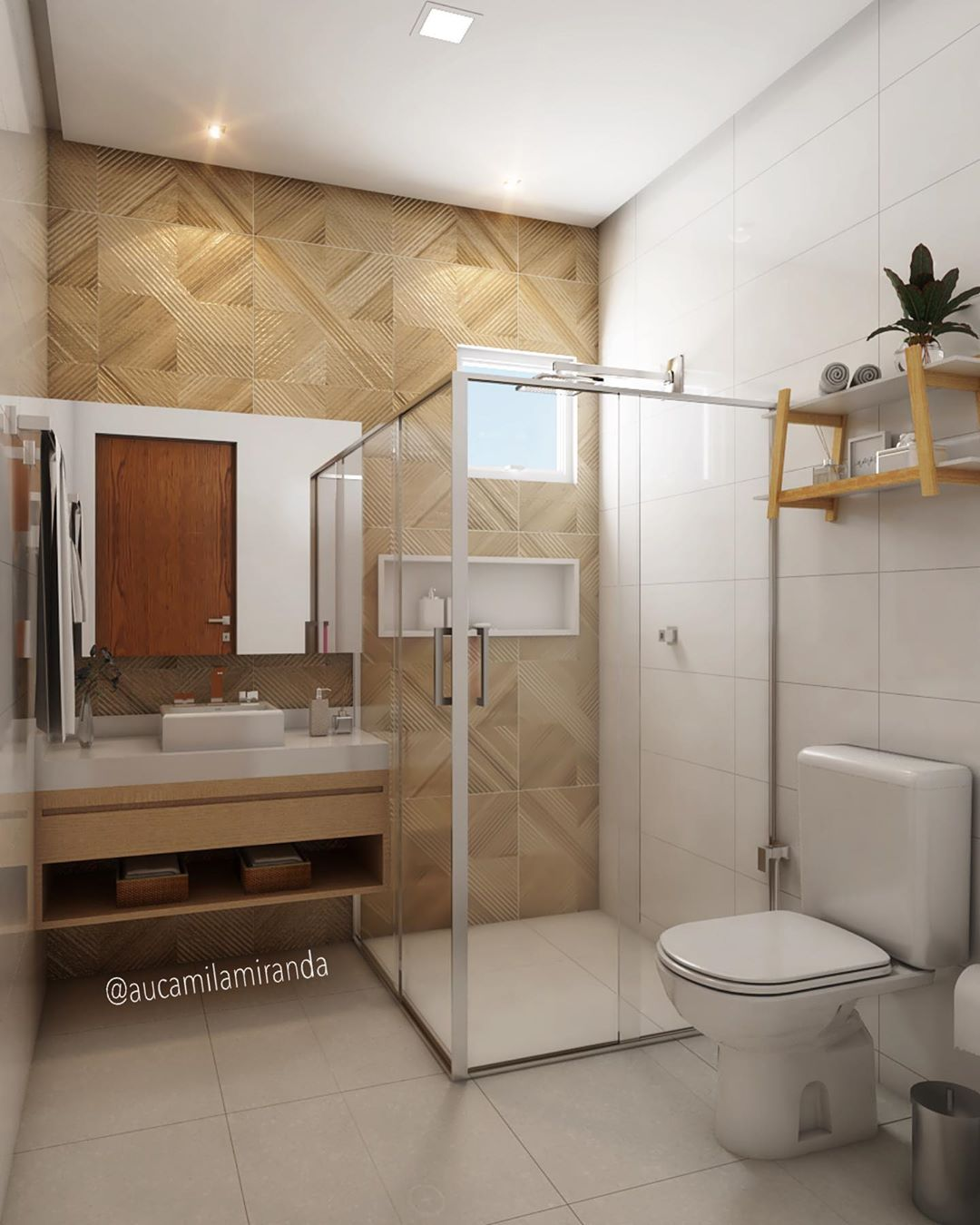 banheiro quadrado grande branco com madeira