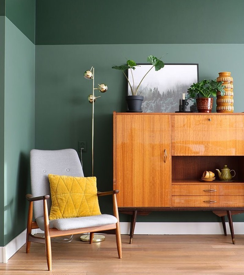 parede verde na decoração da sala