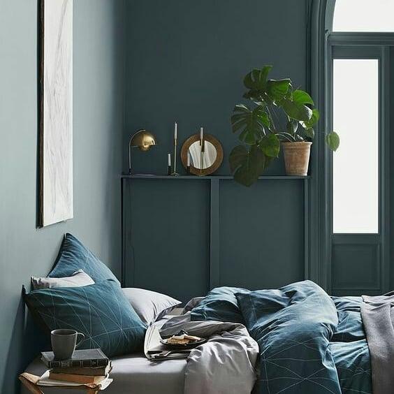 parede verde na decoração do quarto
