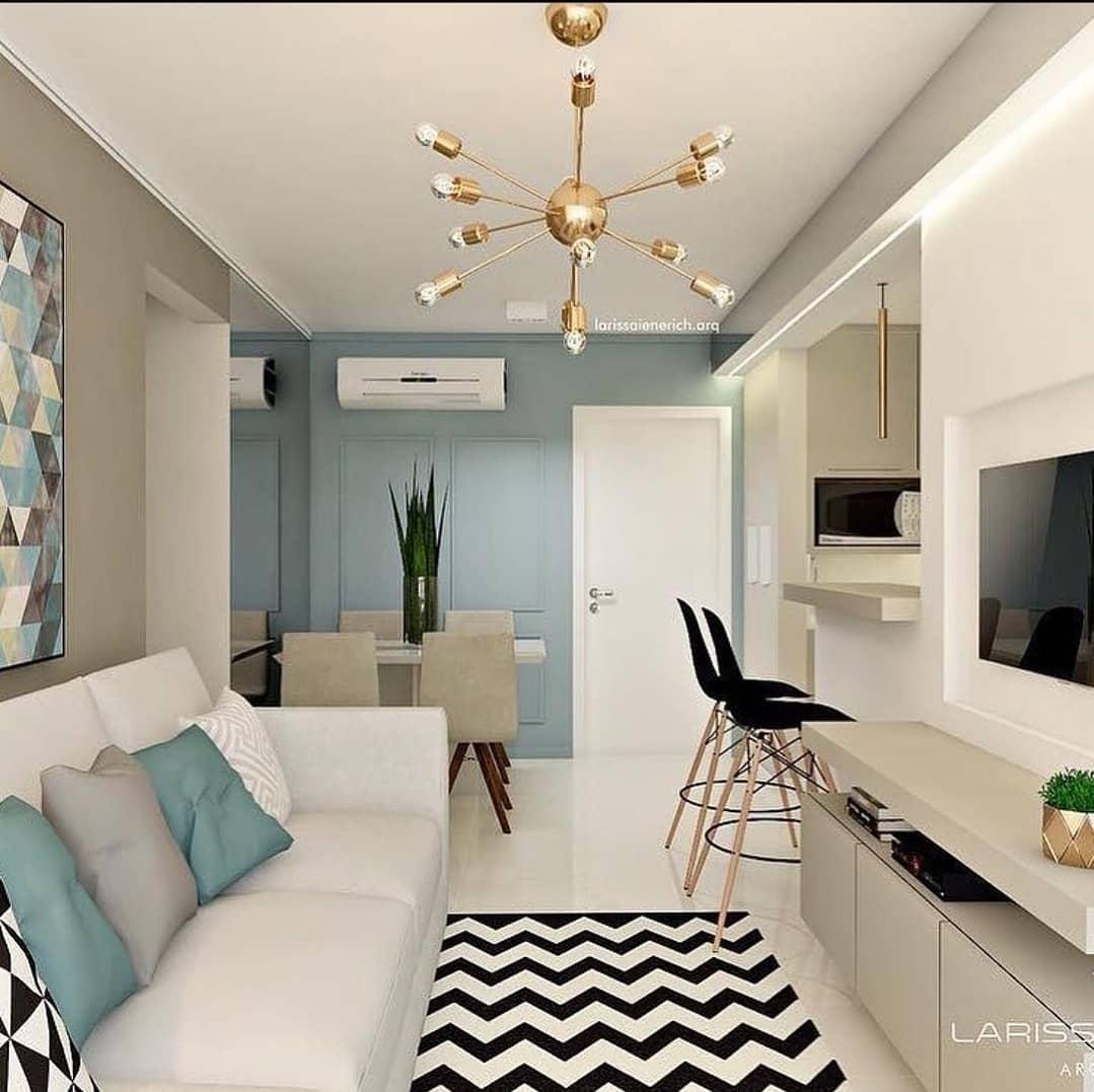 decoração azul claro para sala