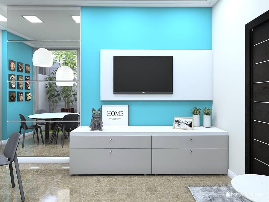 decoração azul turquesa para sala