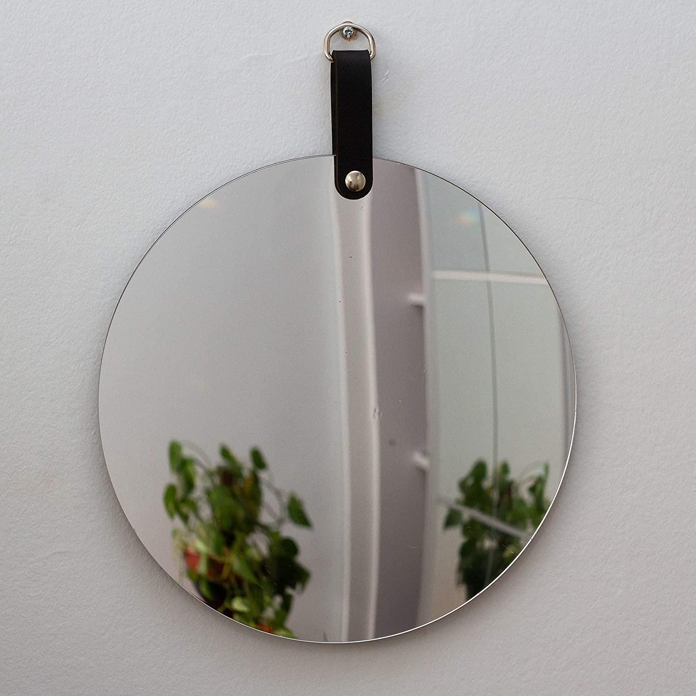 espelho redondo com couro preto