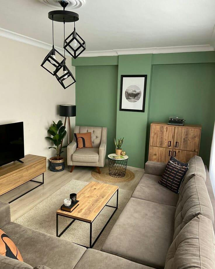 parede verde na decoracao da sala