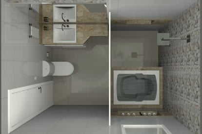banheiro quadrado com banheira