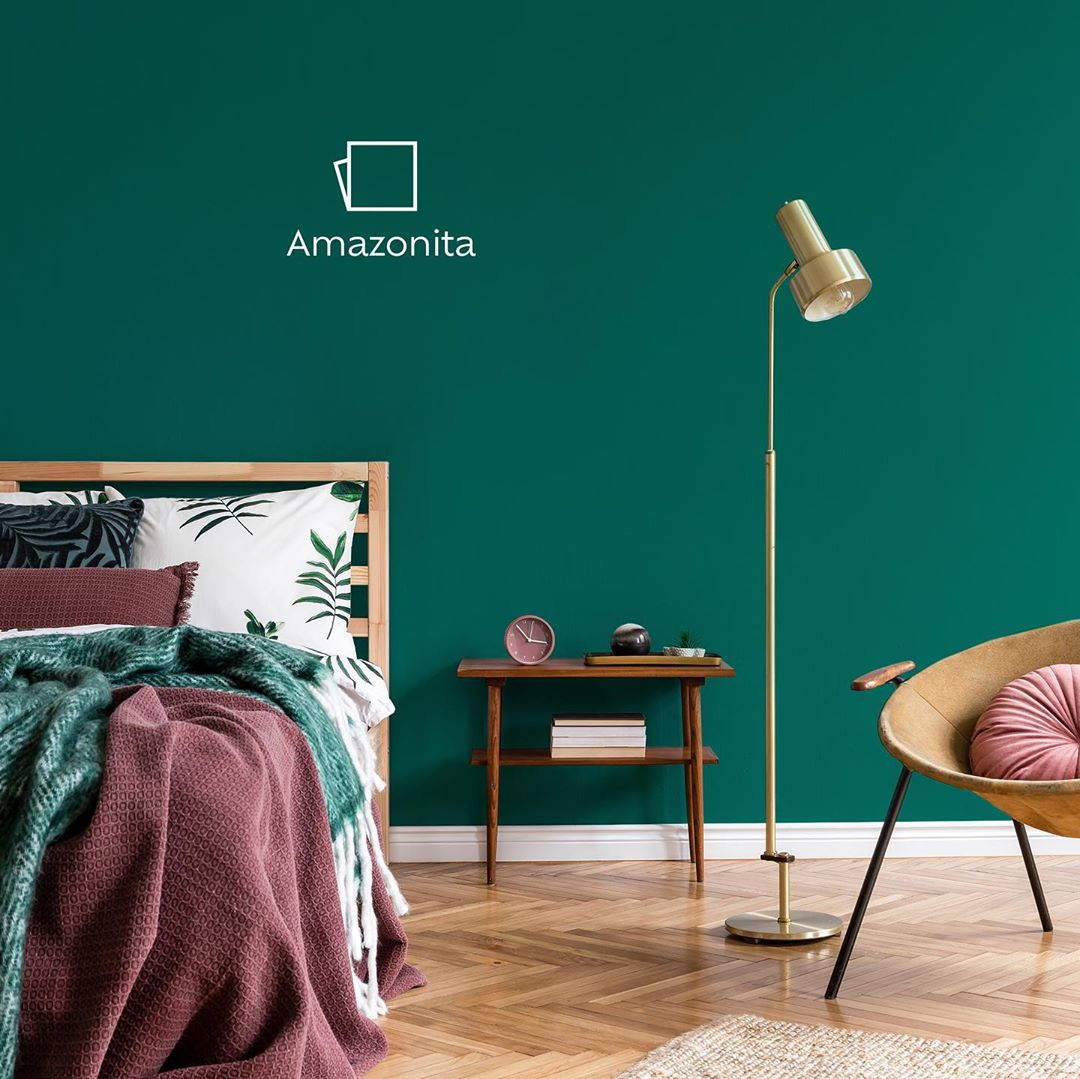 parede do quarto em verde