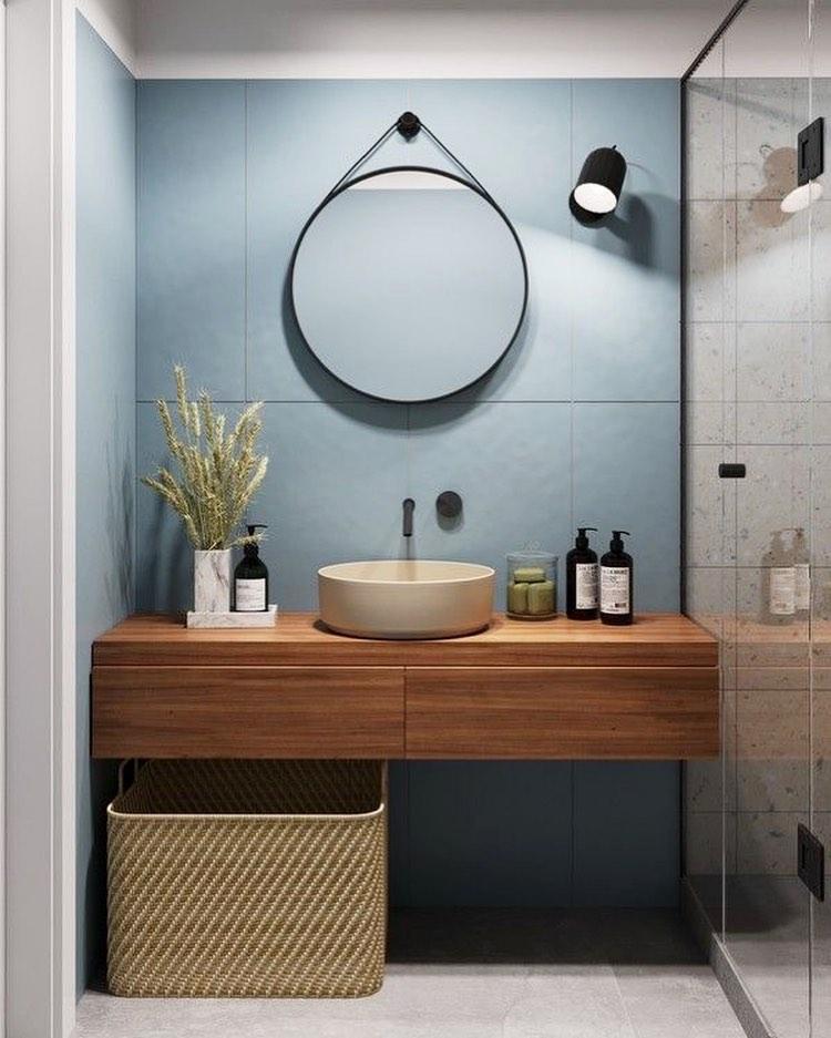 espelho redondo adnet no banheiro