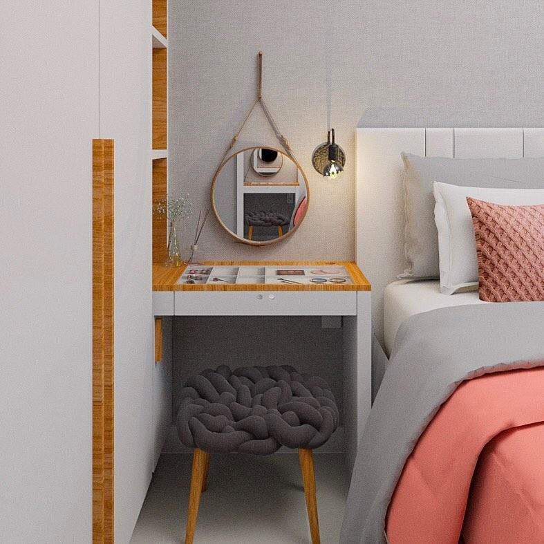 espelho redondo adnet no quarto pequeno
