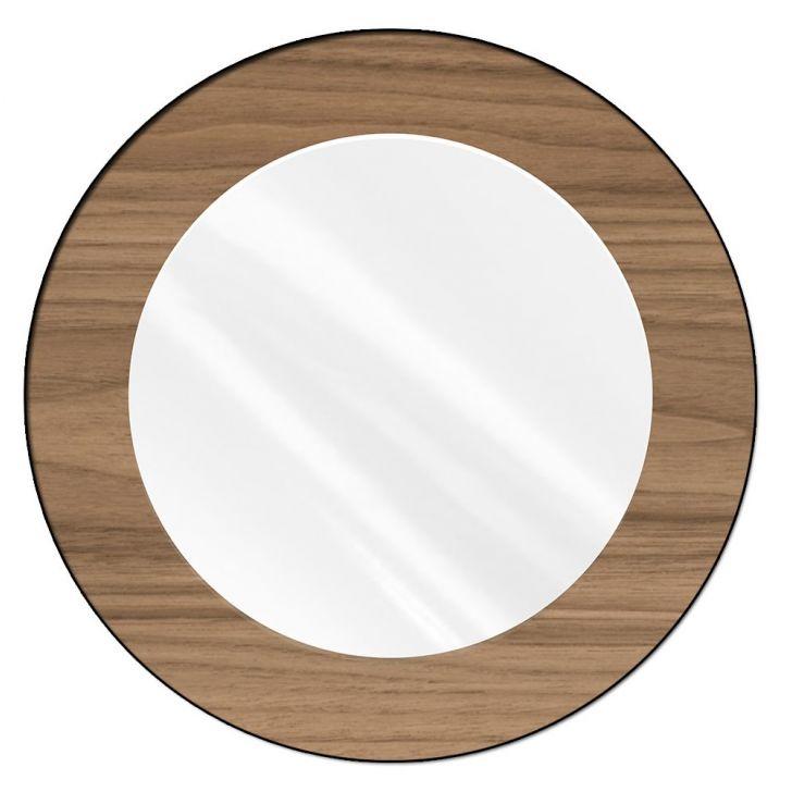 espelho redondo com moldura em madeira