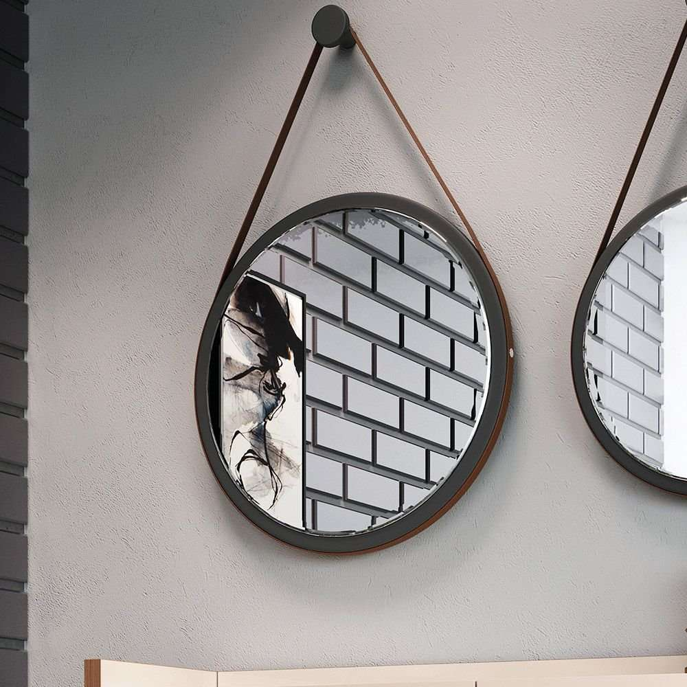 espelho redondo adnet alça de couro