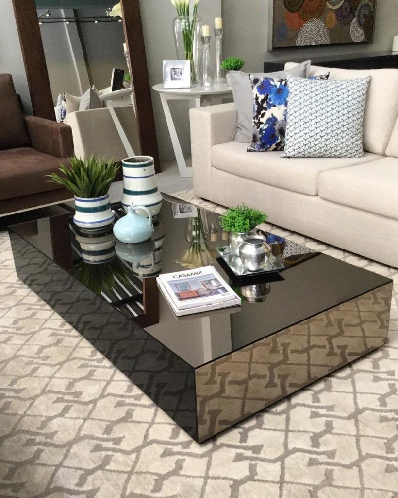mesa de centro em espelho bronze