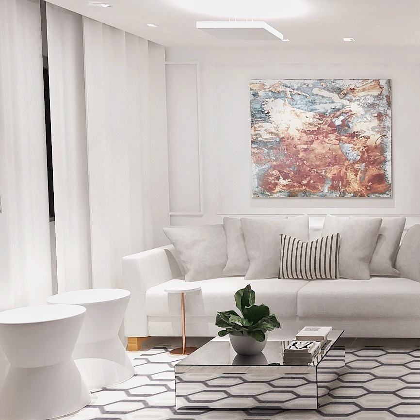 sala de estar clean com mesa de centro espelhada quadrada