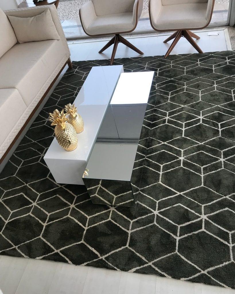 conjunto de mesa de centro retangular em laca e espelho