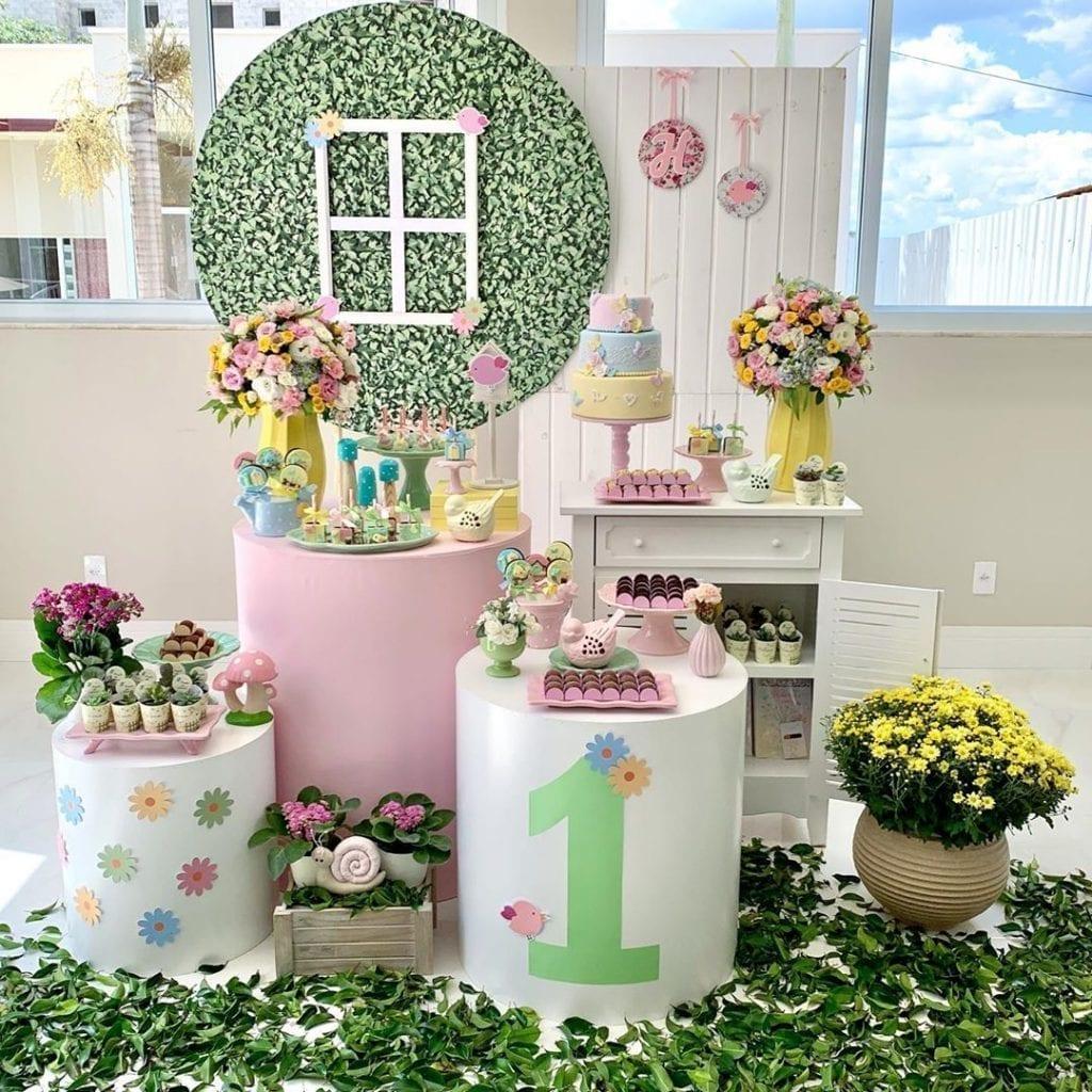 decoração pequena festa jardim encantado