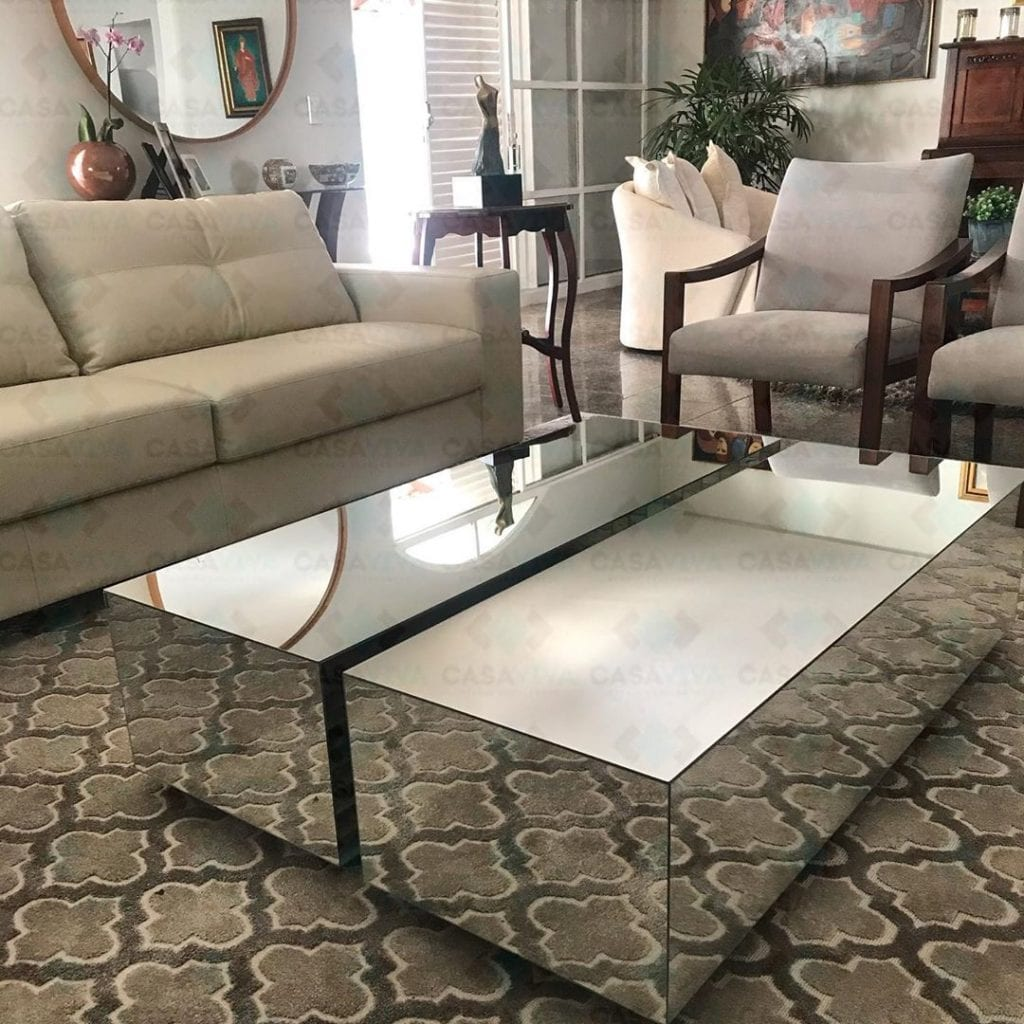 conjunto de mesa de centro espelhada