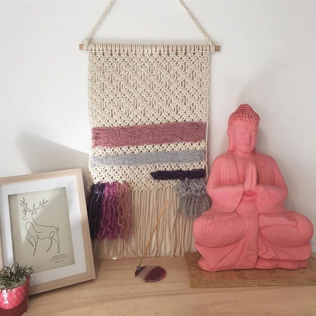 pequena peça de tapeçaria na decoração de casa