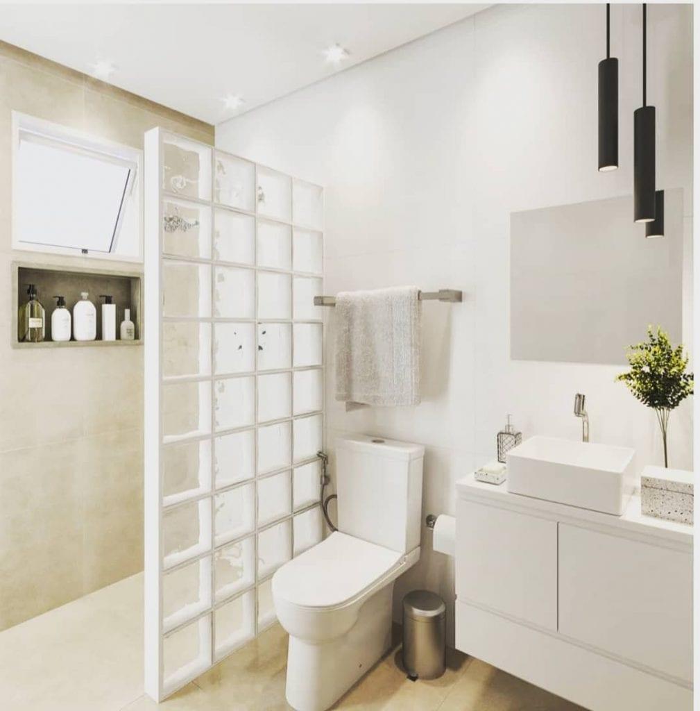 tijolo de vidro em box de banheiro