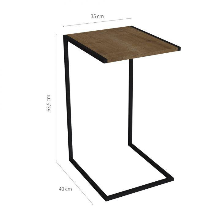 mesa lateral sofá madeira e preto