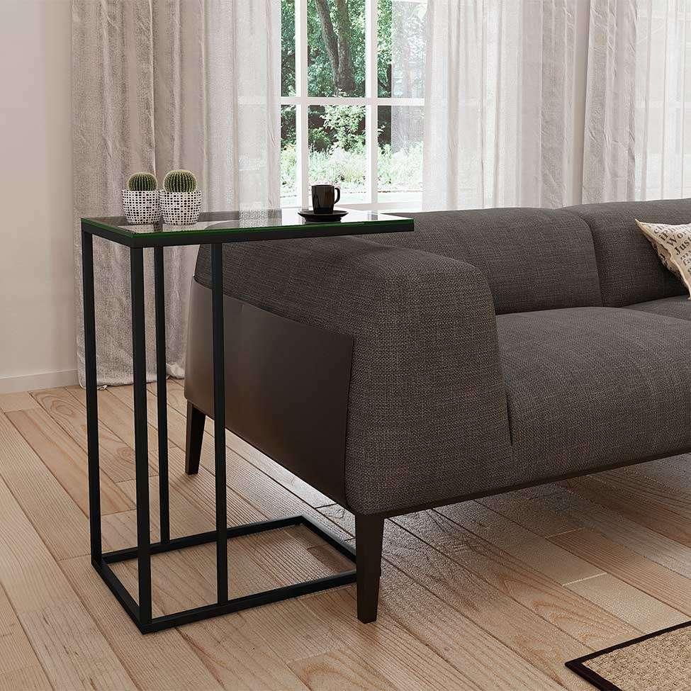 mesa lateral sofá encaixe preta