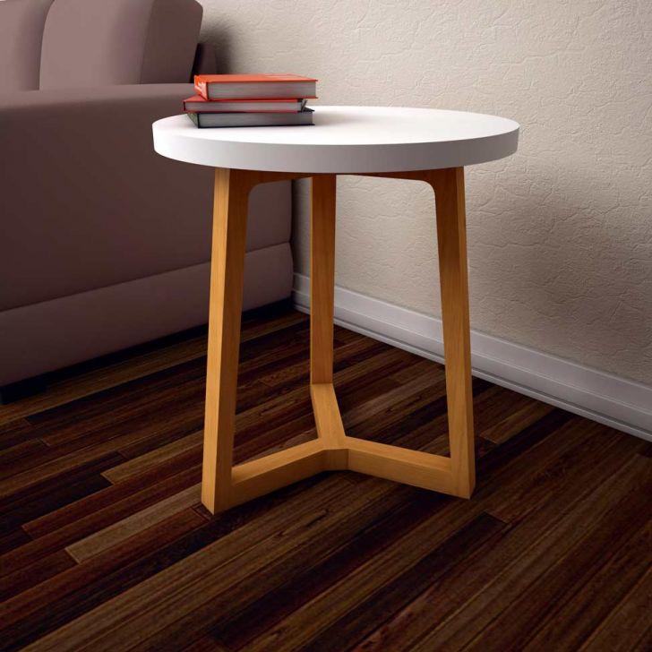 mesa lateral branca e madeira
