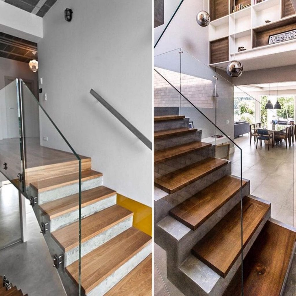 escada de madeira moderna com cimento queimado e vidro