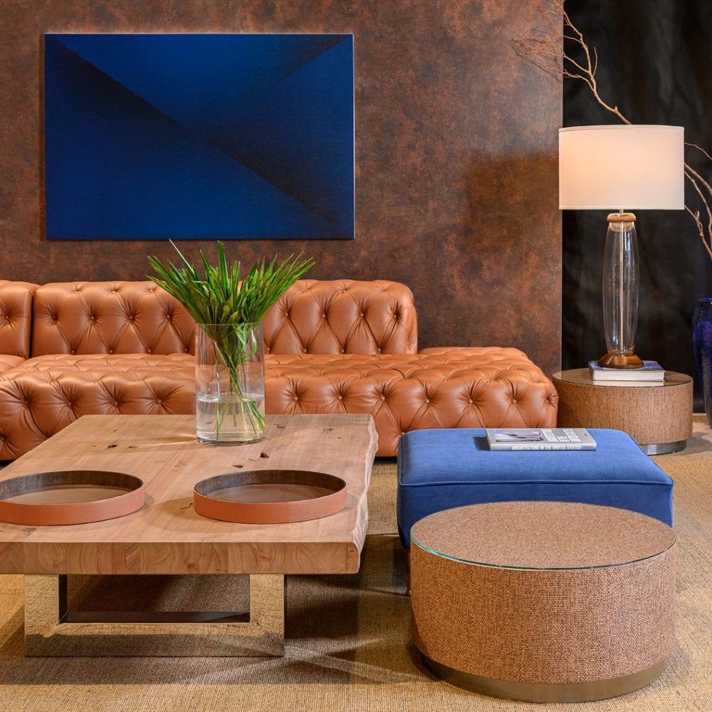 sofa chesterfield sierra em couro caramelo
