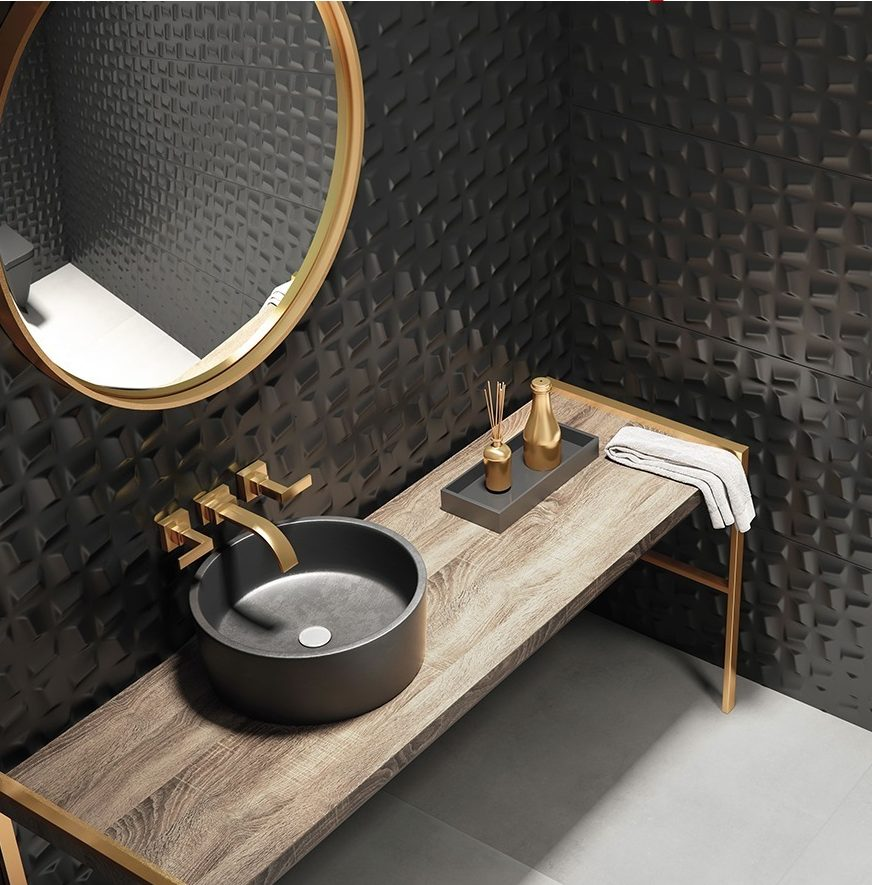 revestimento 3D preto piso ceramico