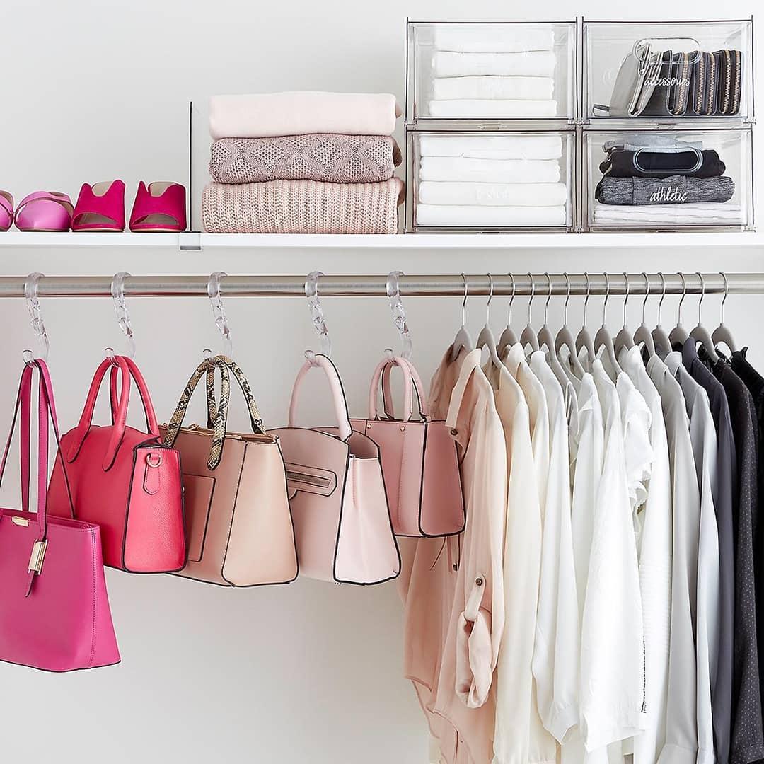 ganchos para organizar bolsas no guarda roupa