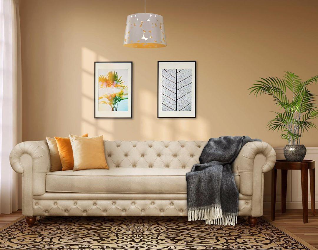 sofa chesterfield em cor clara