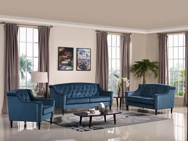 conjunti de sofa chesterfield azul moderno