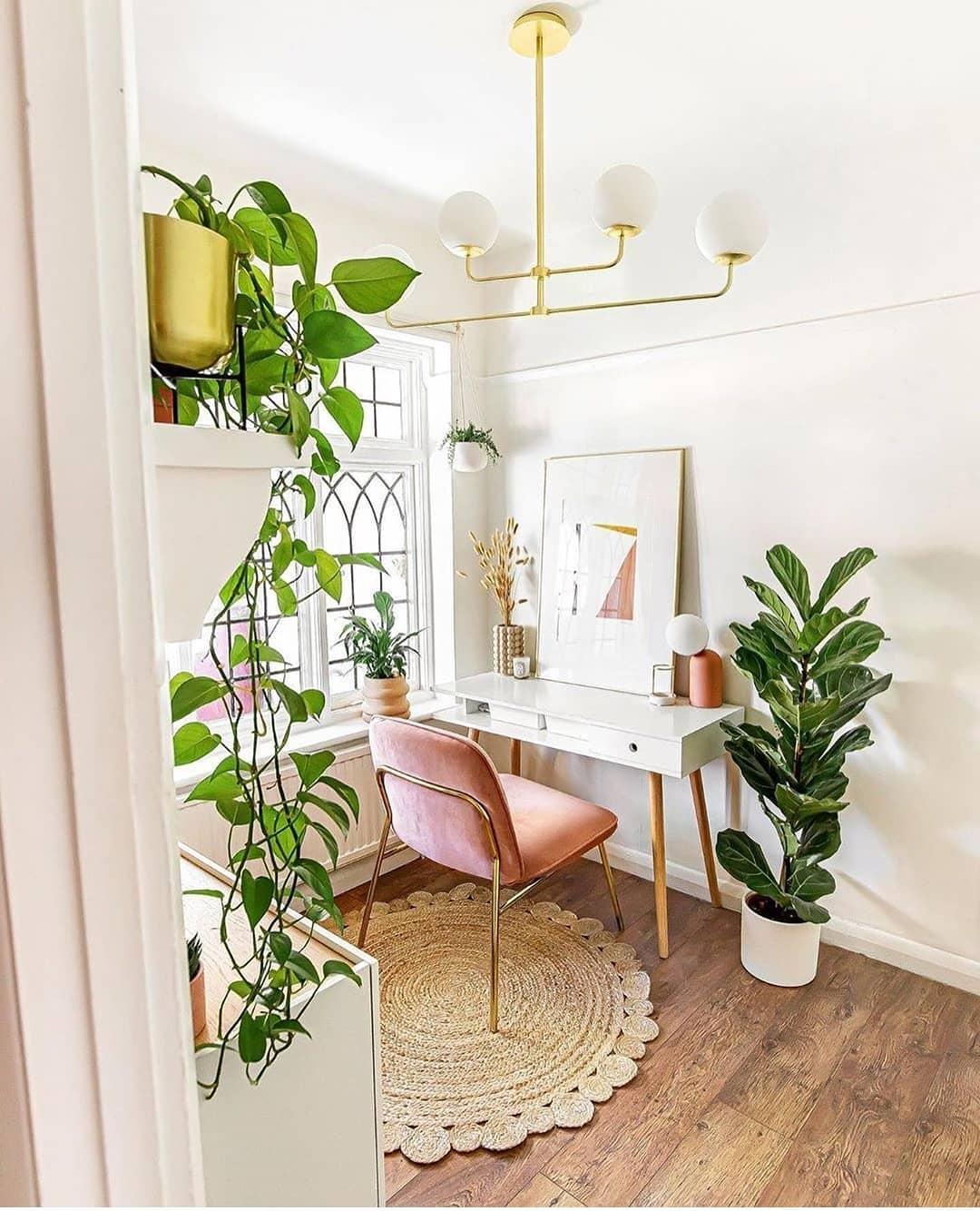 quarto feminino com tapete de sisal  redondo