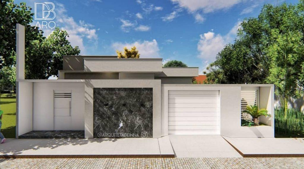 fachada de casa popular com detalhe escuro