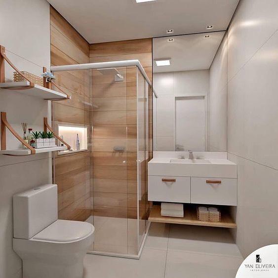 banheiro quadrado moderno em branco e madeira