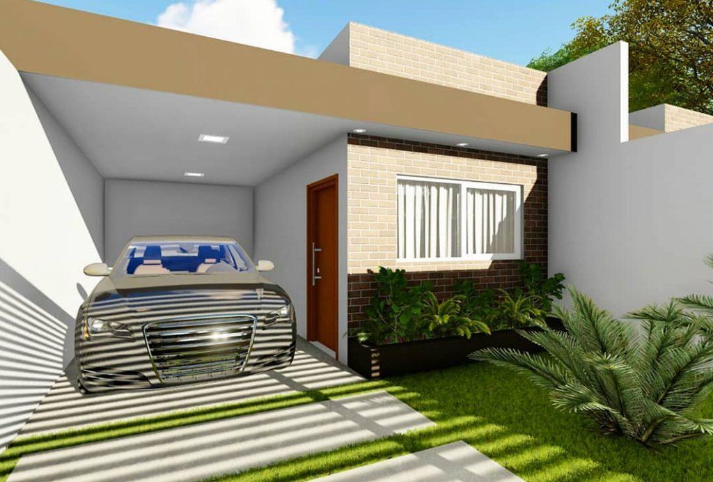 fachada de casa popular em tons claros