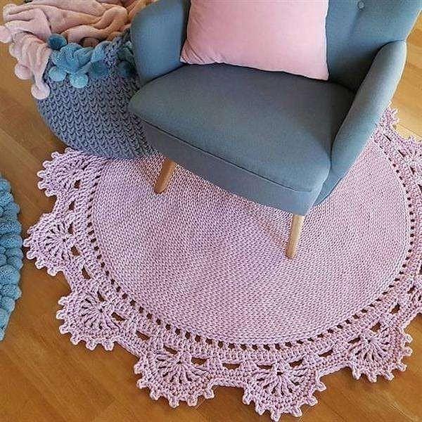 tapete redondo de croche rosa delicado