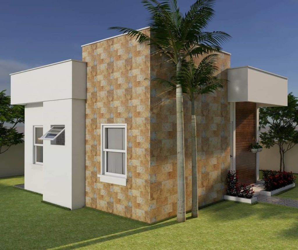 fachada de casa popular com detalhe de revestimento