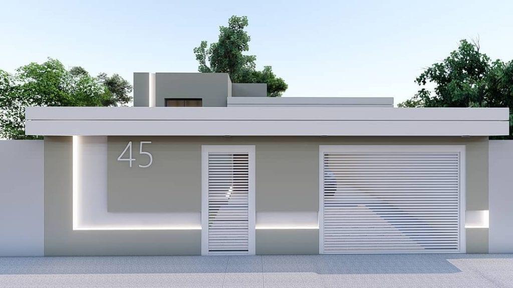 fachada de casa popular em cinza e branco