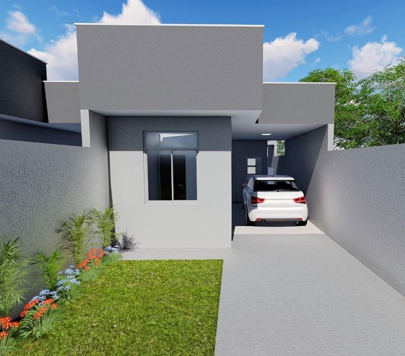 fachada de casa popular simples em cinza
