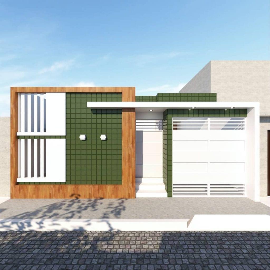 fachada de casa popular com detalhe em verde e madeira