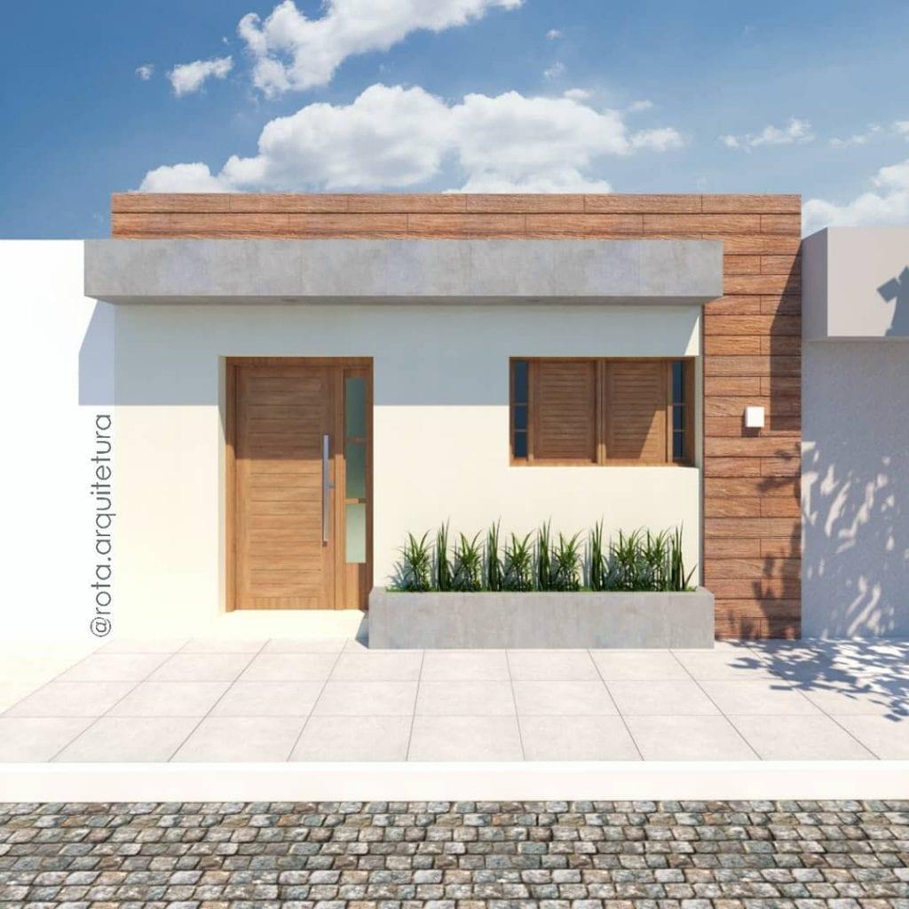 fachada de casa popular com detalhe amadeirado