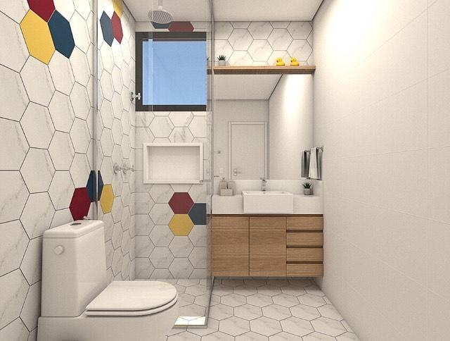 banheiro quadrado infantil moderno