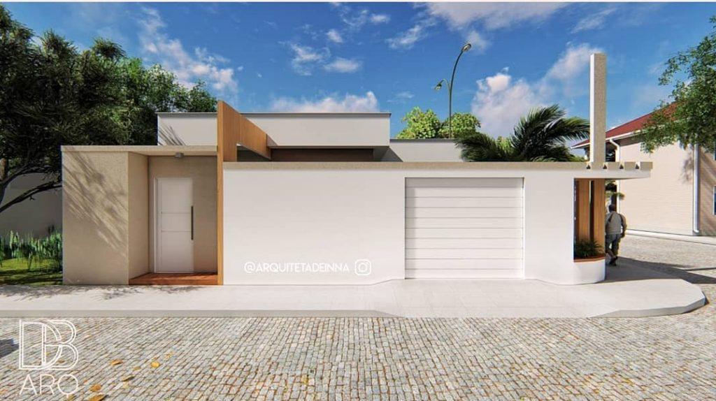 fachada de casa popular de esquina em cores claras